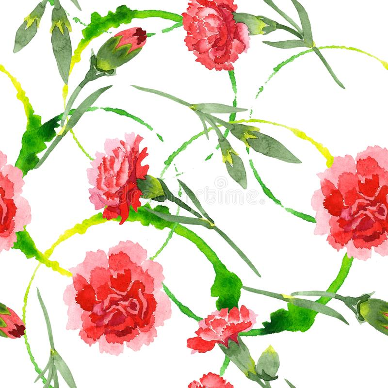 Red dianthus floral botanical flowers. Watercolor background illustration set. Seamless background pattern. Red dianthus floral botanical flowers. Wild spring stock photography