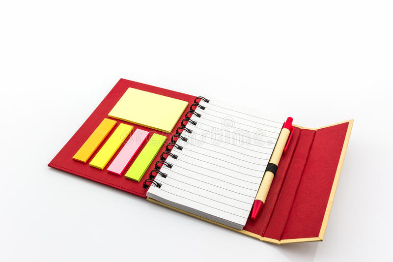 Red diary book on white background. Close up Red diary book on white background stock photos