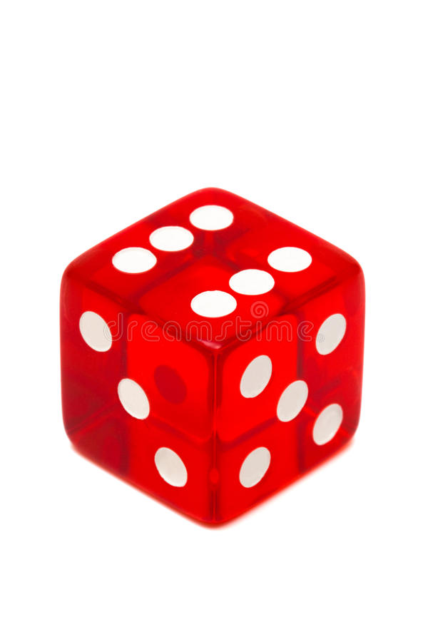 Red dice. Red and transparent dice on a white background stock photography