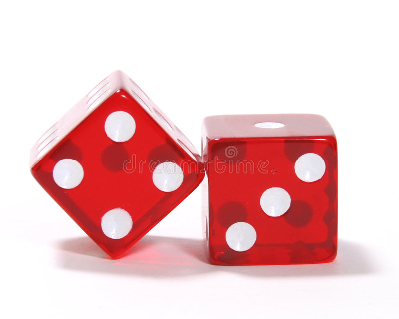 Red Dice. Pair of red dice, showing 7