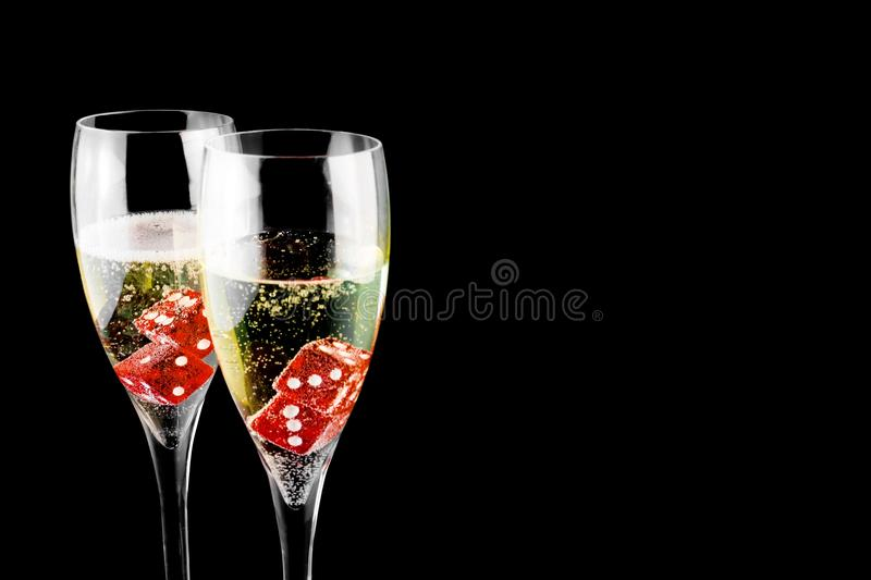 Download Red Dice In A Champagne Flute Stock Image - Image: 22490431
