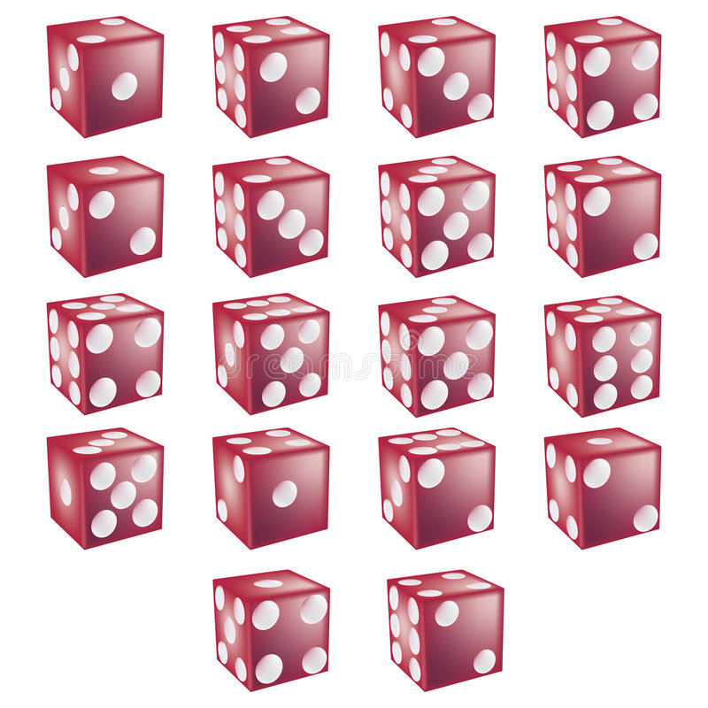 Red Dice with clipping path. Illustration with clipping path vector illustration