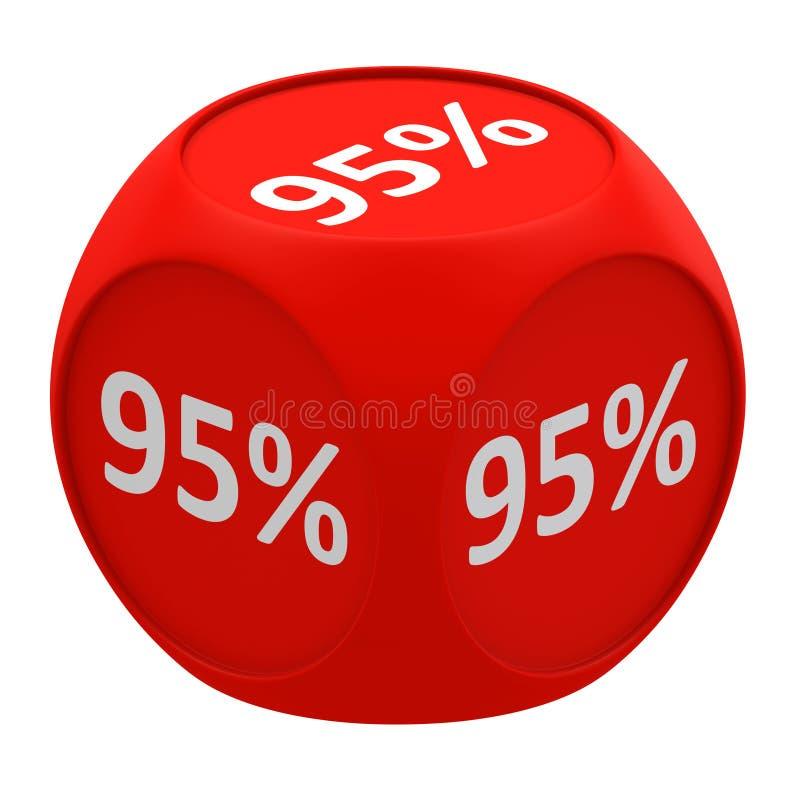 Discount cube concept 95% vector illustration