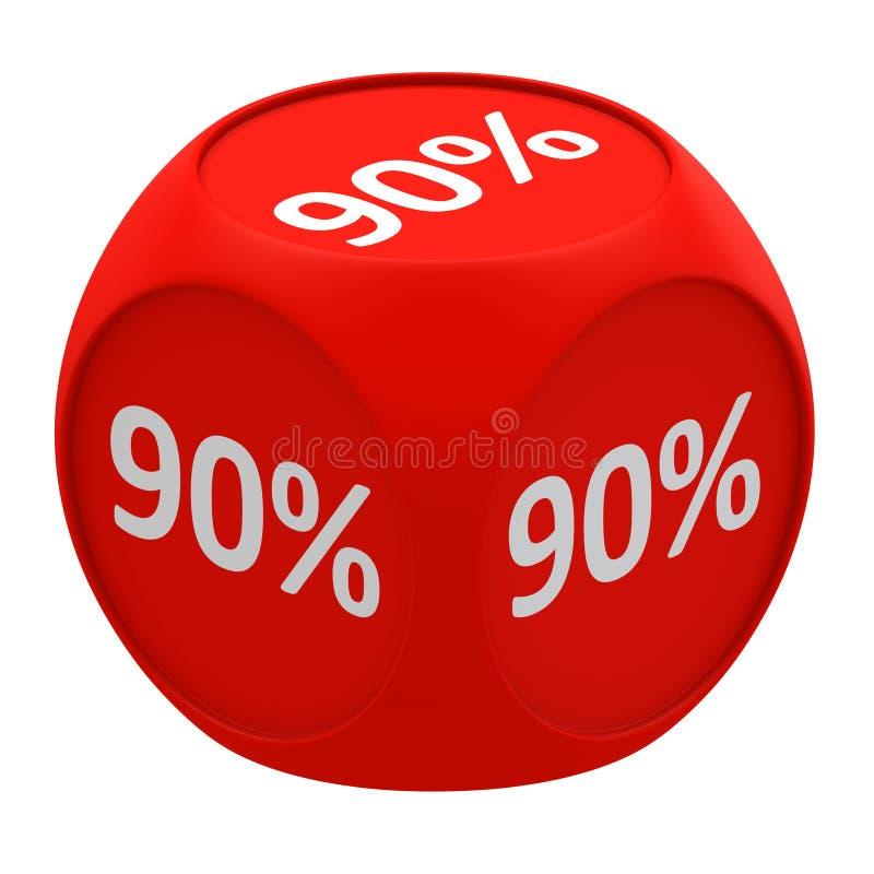 Discount cube concept 90% vector illustration