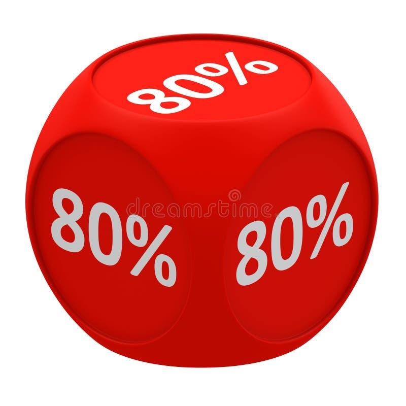 Discount cube concept 80% vector illustration