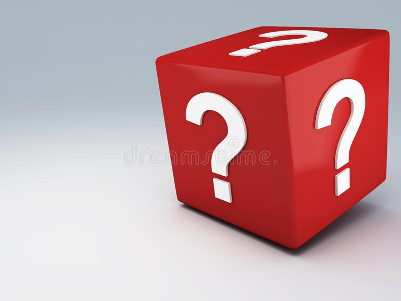 Red dice help. Red dice with question mark 3d illustration vector illustration