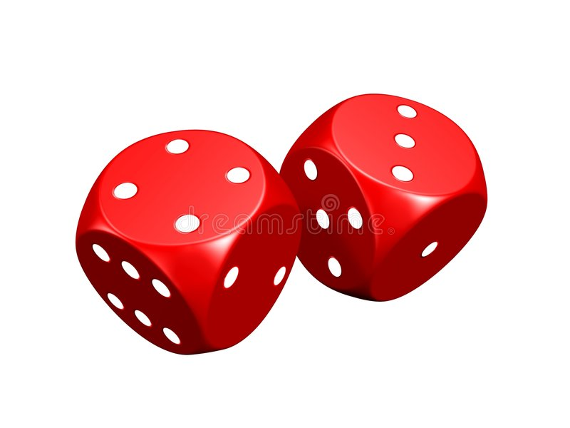 Red dice (isolated) stock photos