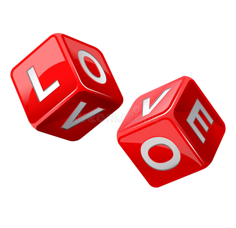 Red dice. Love royalty free illustration