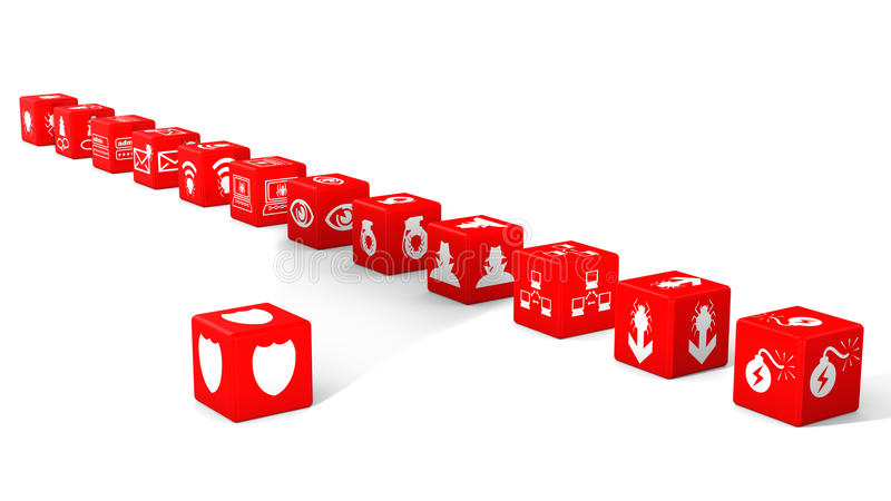 Red dice in a row cybersecurity concept. Red dice in a row with information security threat icons isolated on white 3D illustration cybersecurity concept stock illustration