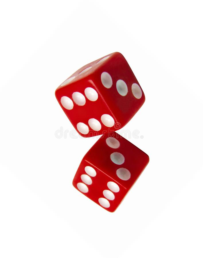 Red dice on white stock photography