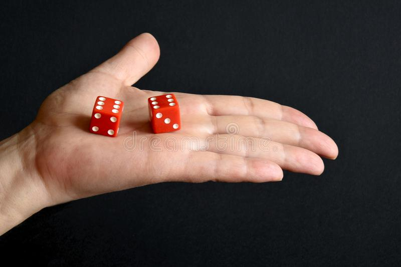 Red dices on the male palm royalty free stock photography