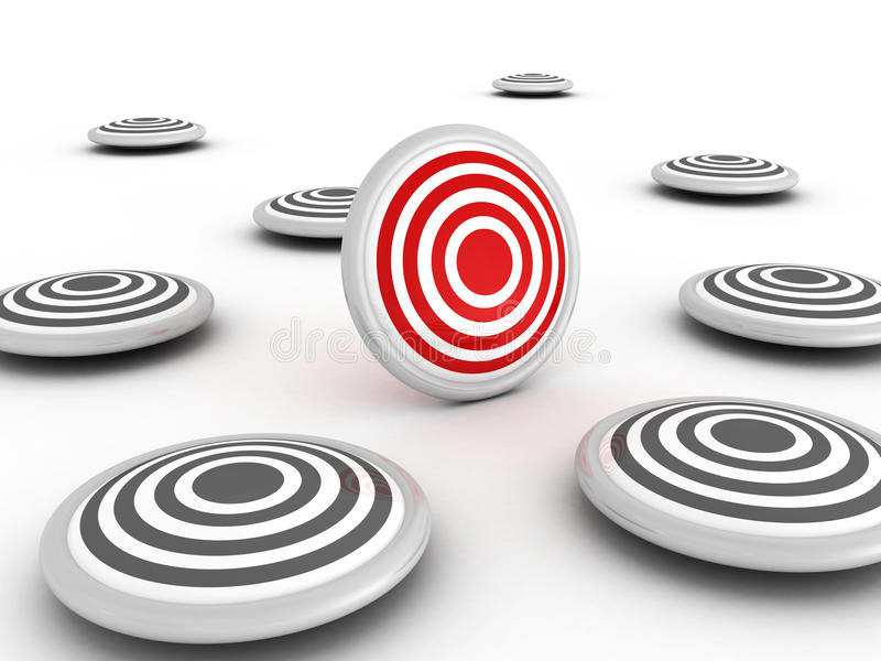 Red different success target out of others vector illustration