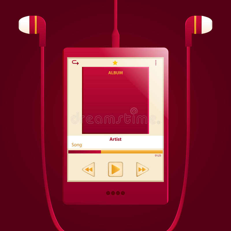 Download Red digital music player stock vector. Image of music - 37578799