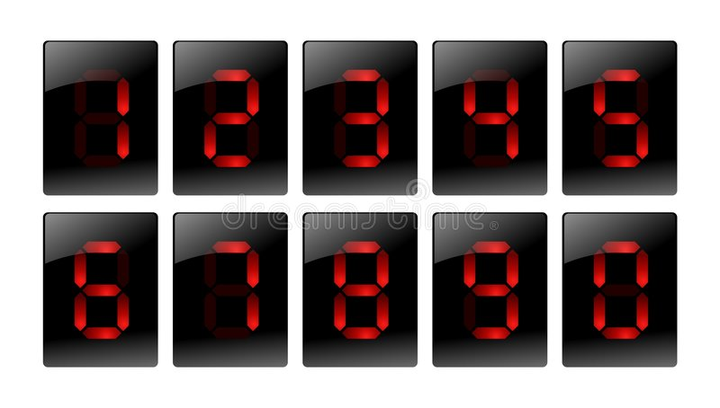 Red digital number icons royalty free illustration