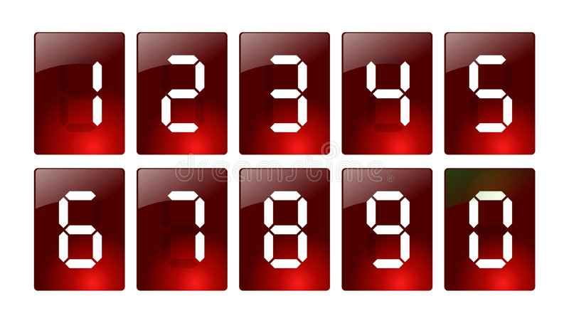 Red Digital Number Icons Stock Photo