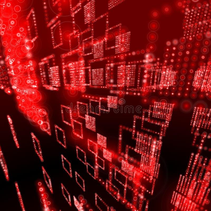 Red digital sphere database stock image