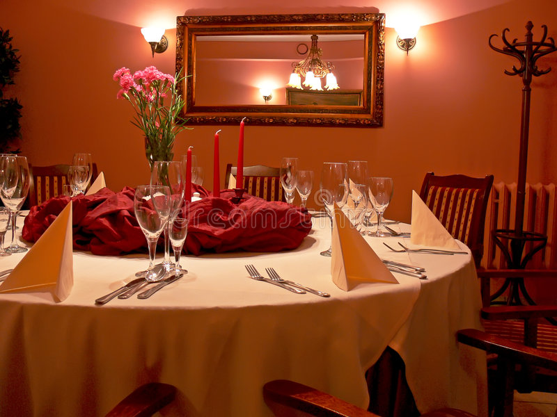 Red dining room stock photography