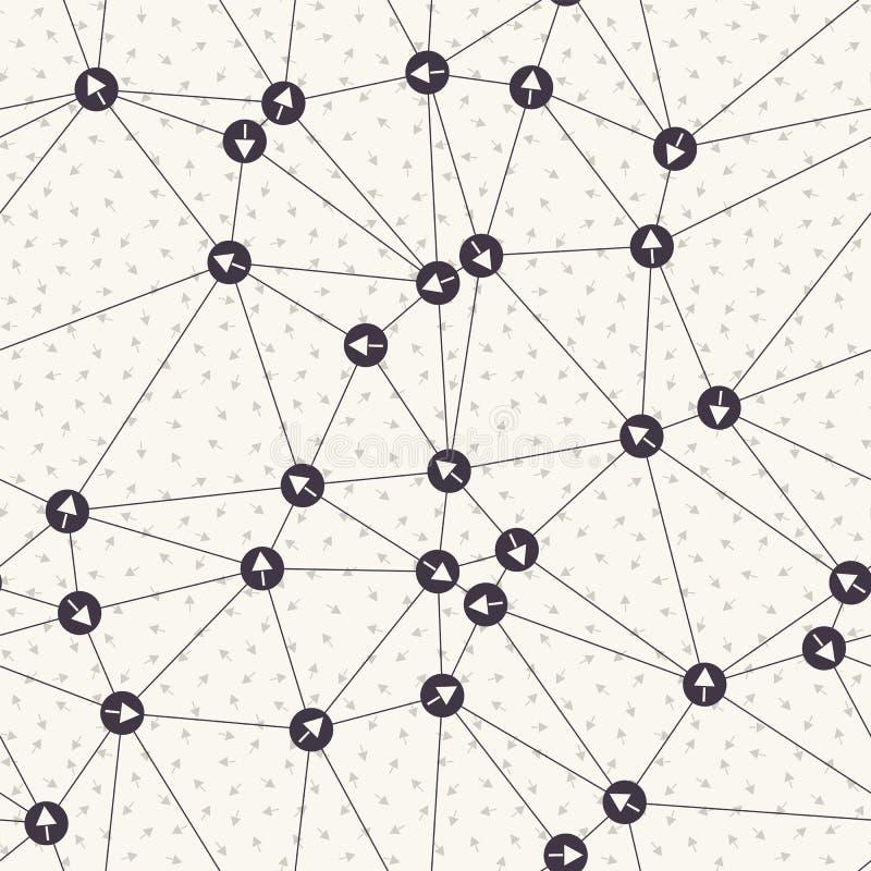 Red direccional del punto de la flecha Fondo del indicador de la web Muestra neta del concepto de la comunicación monocromática B ilustración del vector