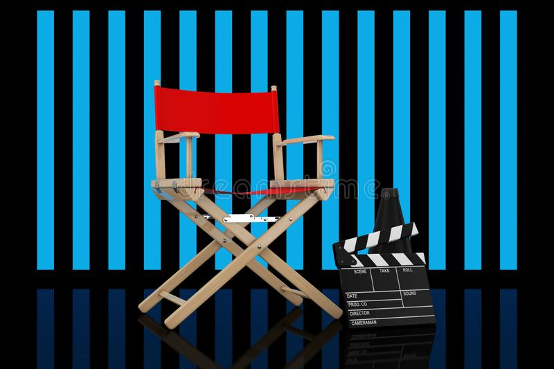 Red Director Chair, Movie Clapper and Megaphone in front of Stripped Lights. 3d Rendering vector illustration