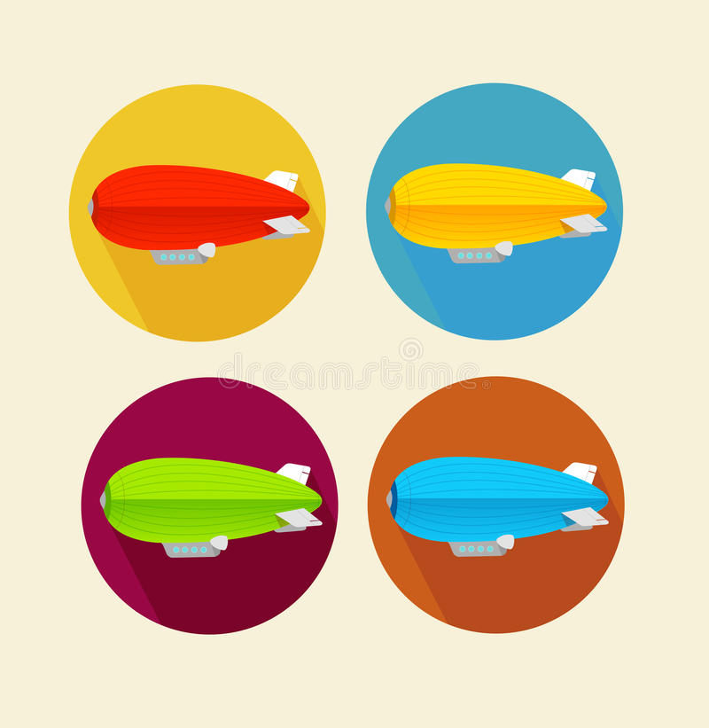 Red dirigible balloon flat icon set.Vector vector illustration