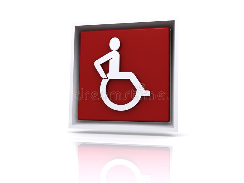 Red disabled button. Illustration of person in wheelchair on red button, reflecting on white background vector illustration