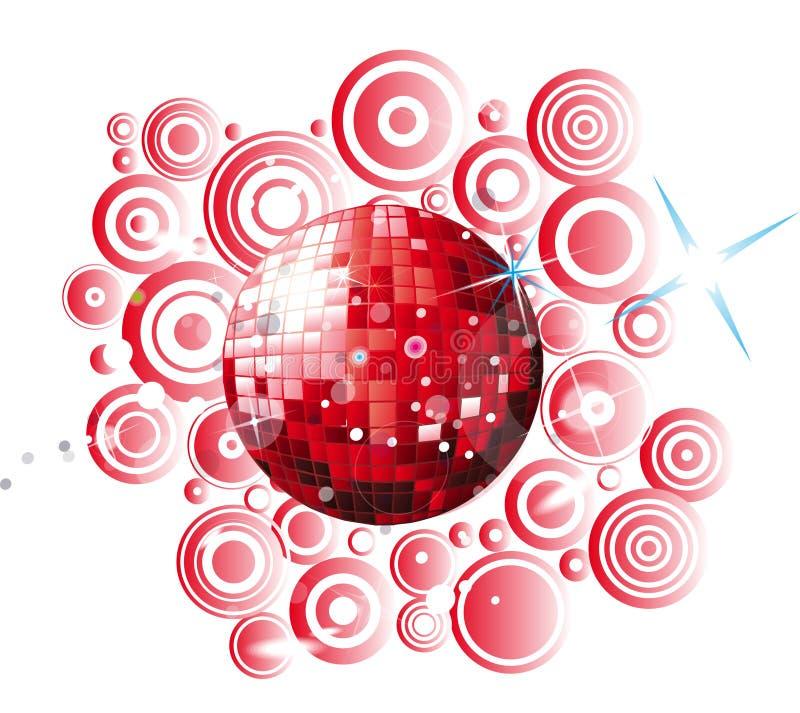 Red disco globe royalty free illustration