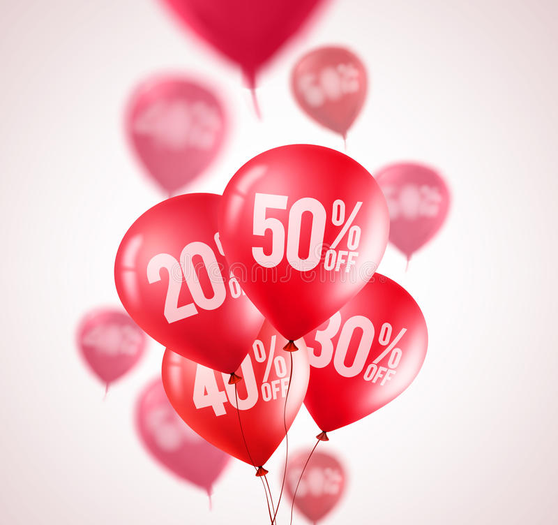 Red discount balloons vector design. Flying red balloons with 50 percent off vector illustration