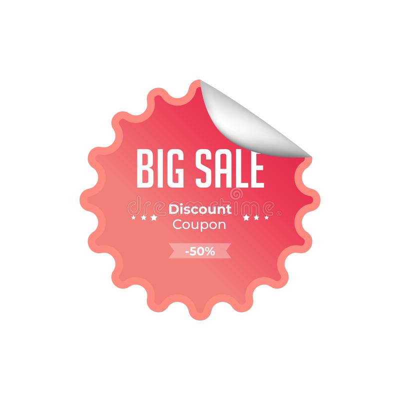 Red Discount coupon. 50% sale banner template design. Big sale special offer. Special offer banner for poster, flyer, brochure, vector illustration