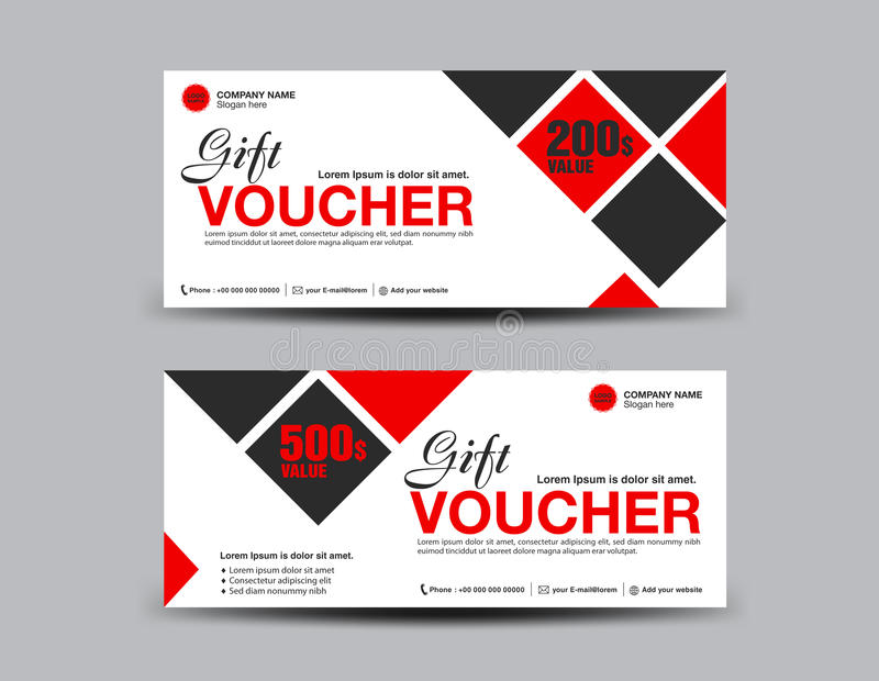 Red Discount Voucher Template Flyer Design Polygon Background Stock ...