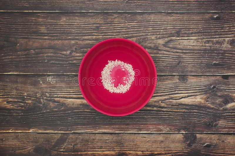 Red dish with little rice.  royalty free stock image