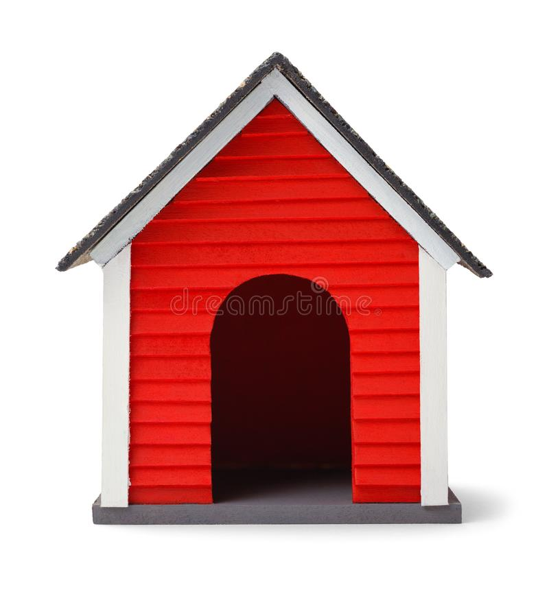Dog House Front. Red Dog House Front Isolated on White Background royalty free stock image