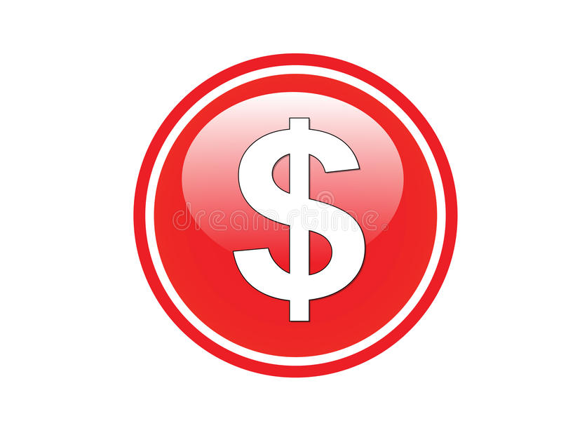 Red dollar button icon stock illustration