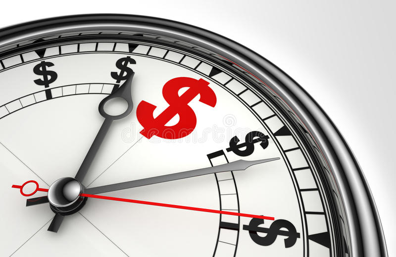 Red dollar symbol on clock face royalty free illustration