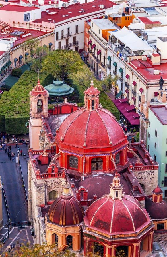 Red Dome Templo San Diego Jardin Guanajuato Mexico royalty free stock photo
