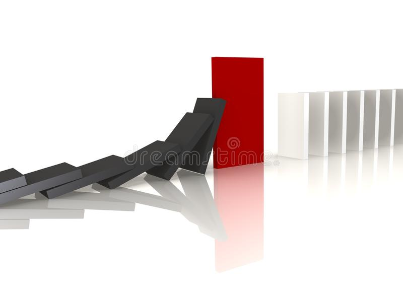 Red domino blocking the fall - a 3d image vector illustration