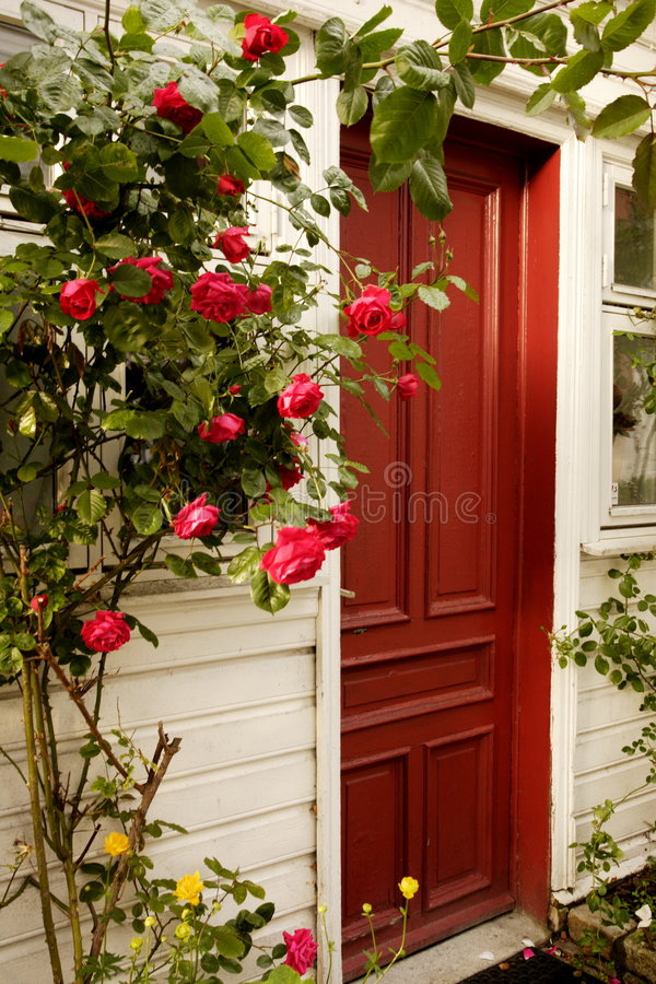 Free Red Door And Roses Stock Photo - 5962730