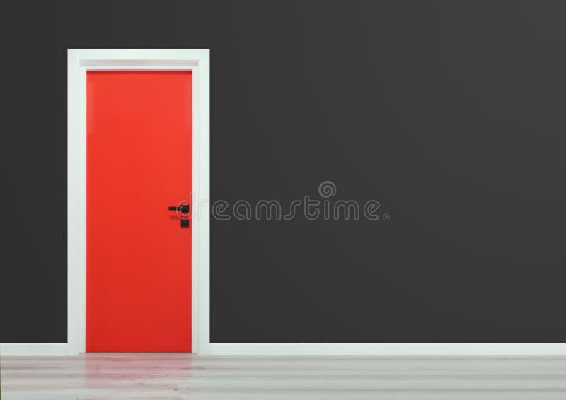 Red door with black handle in a dark grey wall. Red door with black handle in a gray blue wall and wooden floor vector illustration