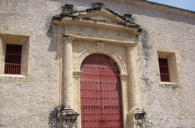 Red door in Cartagena stock photography