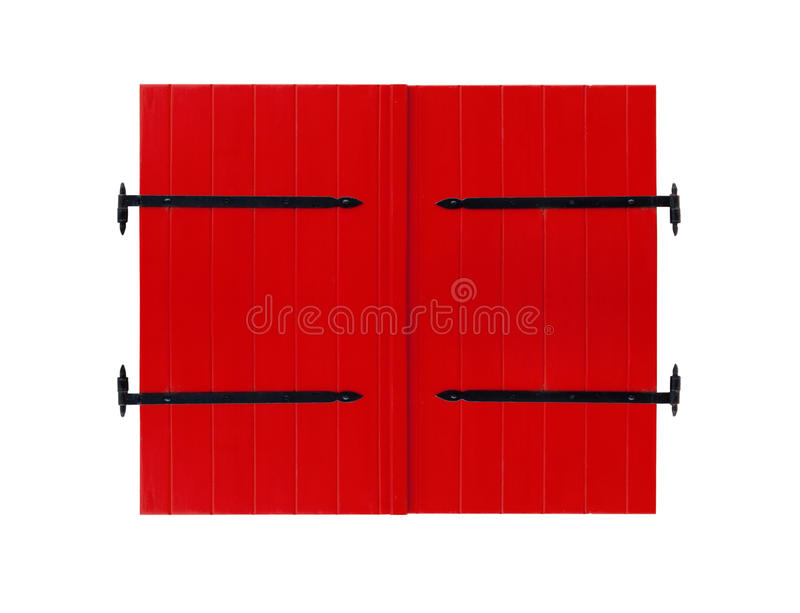 Red door isolated on white background stock photo