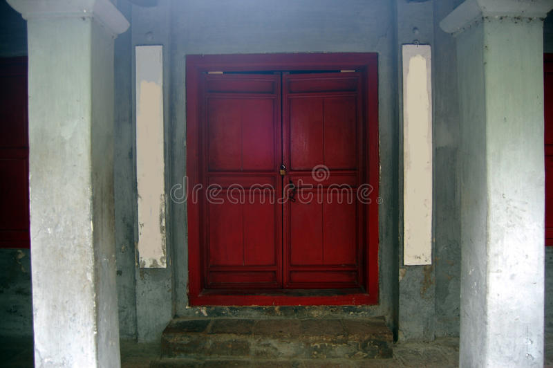 Red Door in Ngoc Son Temple at Hanoi Vietnam. Being built on the Jade Islet and dedicated to Confucian and Taoist philosophers and the national hero, Trần H royalty free stock image