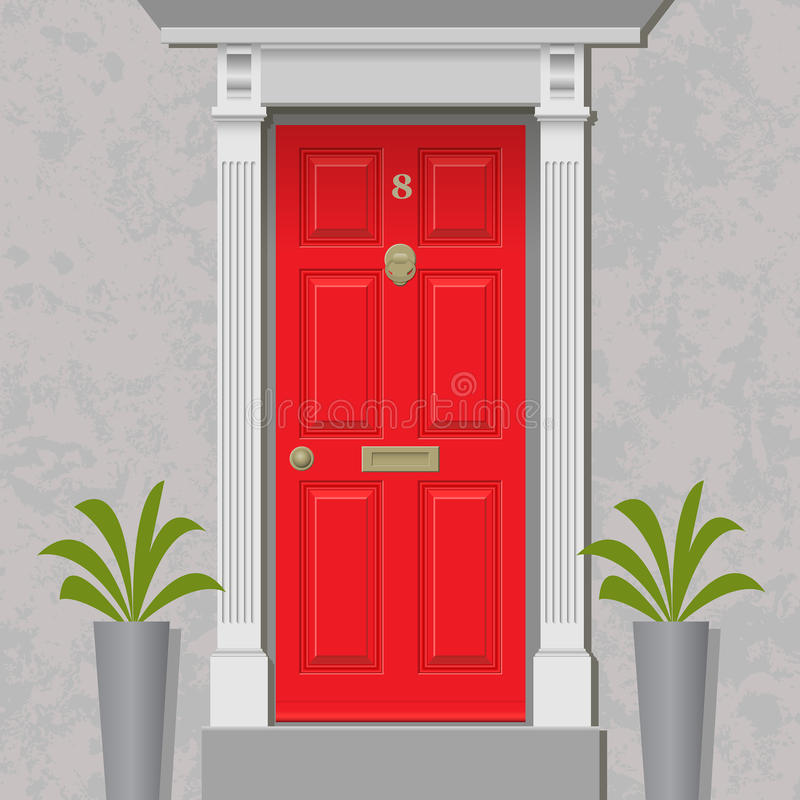 Red Door. An Old Style Front Door, Red with Brass royalty free illustration