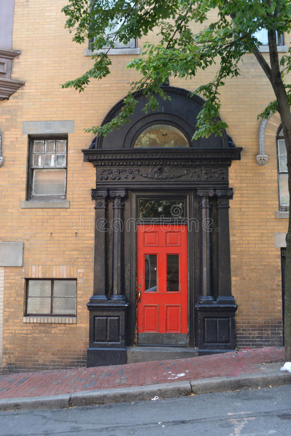 Red Door. To an apartment building in Bostons Beacon Hill Community royalty free stock images