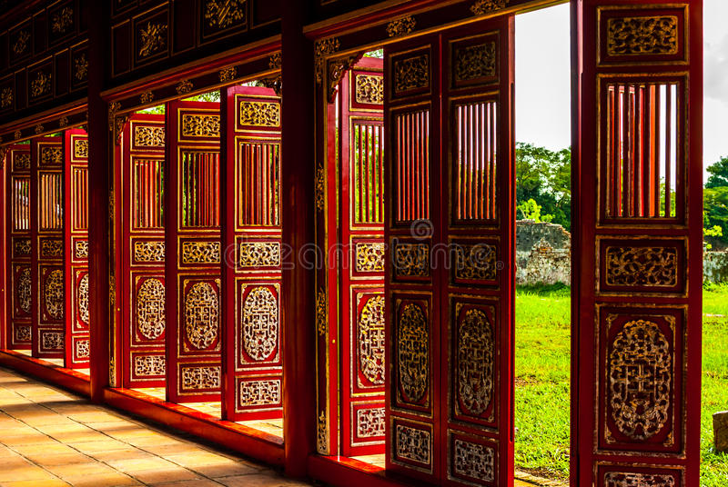 Red doors in Hue Forbidden city. The imperial palace royalty free stock images