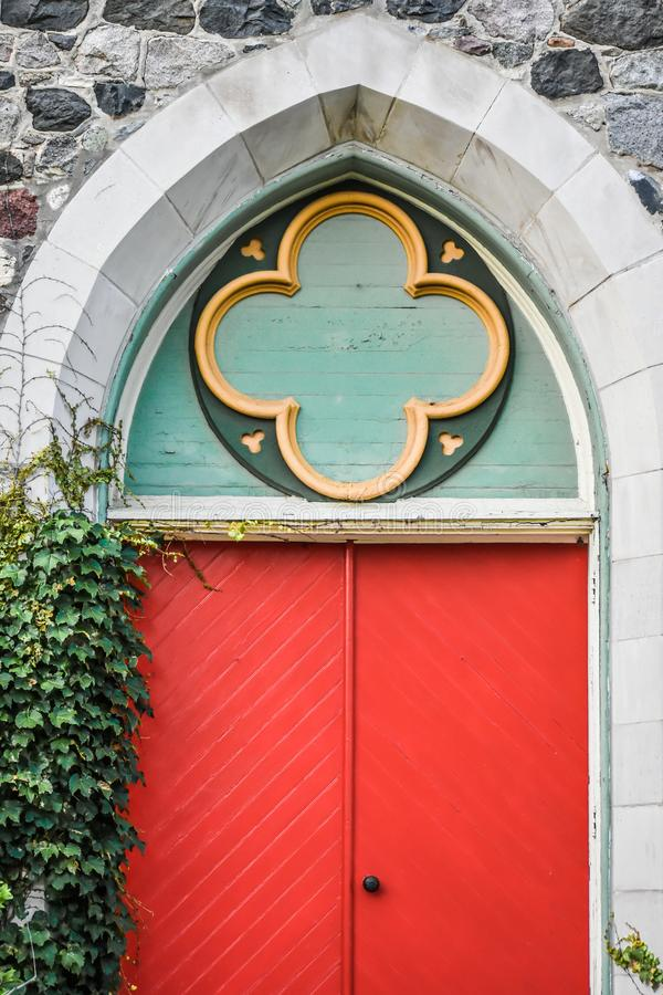 Red Doors with Ivy, Stone Architecture royalty free stock image