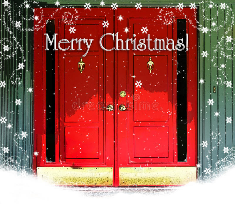 Red Doors Merry Christmas. Double red doors with brass kick plates and knockers, Merry Christmas text with snow and snowflakes stock photography