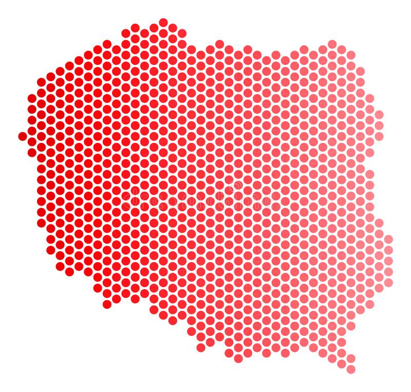 Red Dot Poland Map. Red circle dot Poland map. Geographic plan in red color with horizontal gradient. Vector concept of Poland map designed of sphere point vector illustration