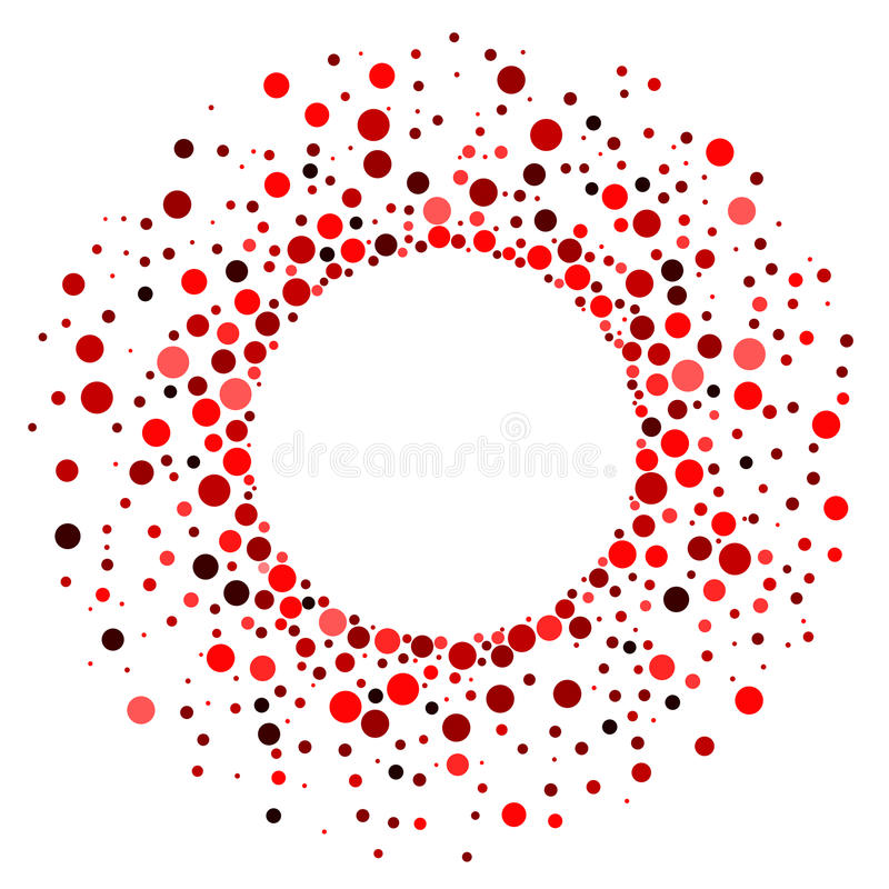 Red Dots Circular Frame Party Poster. Red round frame border with exploding dots party invitation poster or card vector illustration