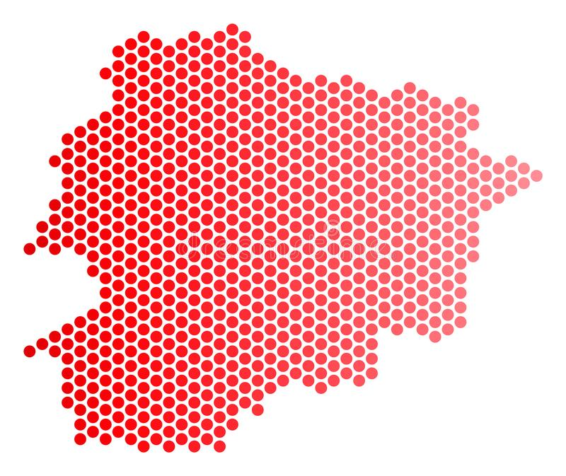 Red Dotted Andorra Map. Red round spot Andorra map. Geographic plan in red color with horizontal gradient. Vector concept of Andorra map created of round pixel vector illustration
