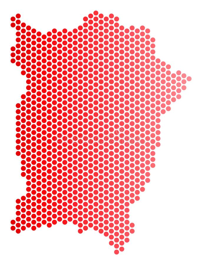 Red Dotted Penang Island Map. Geographic plan in red color with horizontal gradient. Vector collage of Penang Island map made of round spot pattern stock illustration