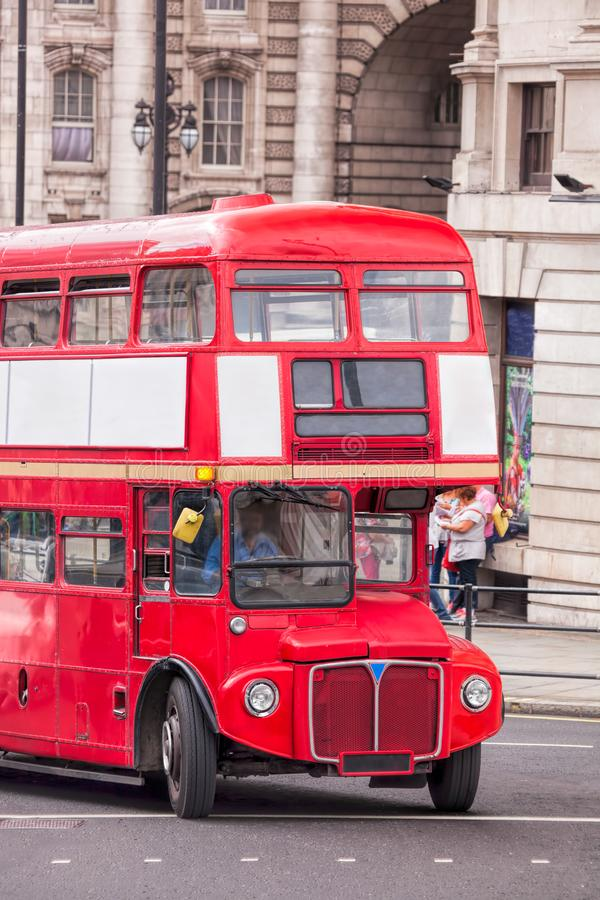 Red double decker bus in London, England, UK stock photography